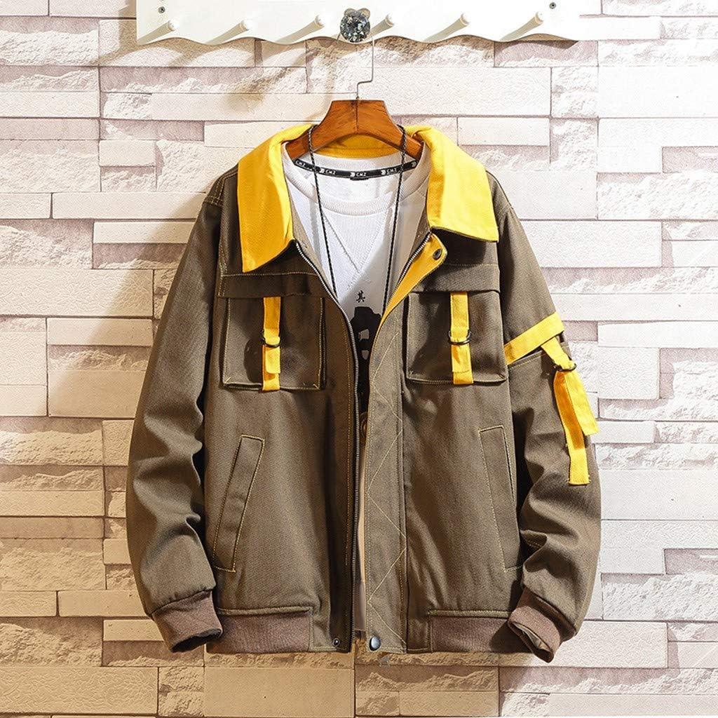 Mens Casual Stitching Multi-Pocket Jacket Mens Autumn Long Sleeve Zipper Lapel Patchwork Jackets Outwear Coat M-4XL