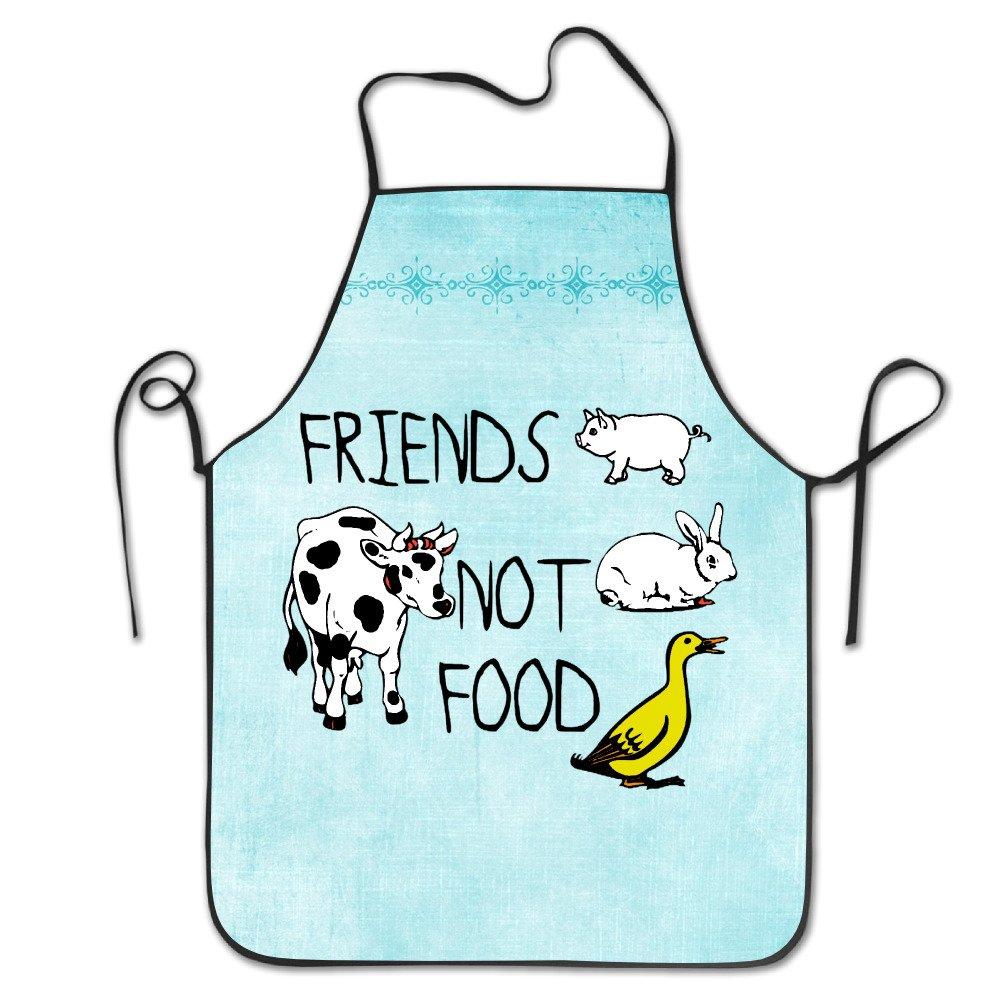 Friends Not Food Vegan調節可能なよだれかけエプロン大人用ホームキッチンエプロンシェフエプロン男性用女性用   B074Z3LTGF