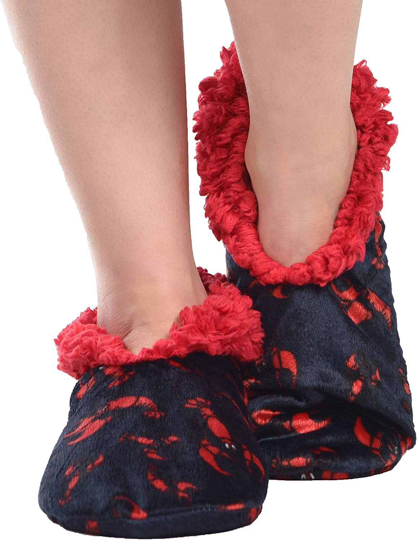 Lazy One Fuzzy Feet Slippers for Women Cute Fleece-Lined House Slippers