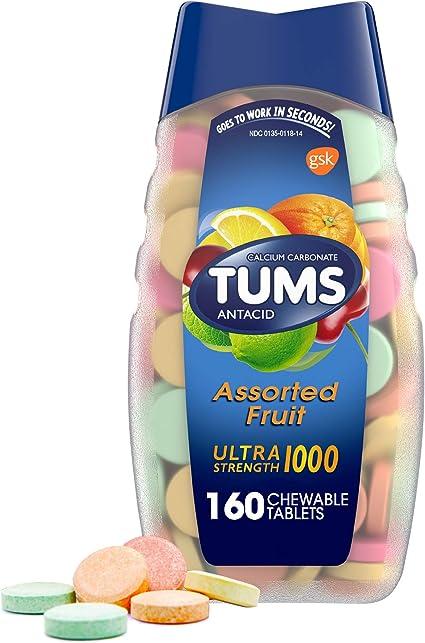Tums Ultra Strength Tabletas Antiácidas Para Alivio De La Acidez Estomacal Masticable Y Alivio De La Indigestión ácida Fruta Variada 160 Unidades Paquete De 1 Health Personal Care