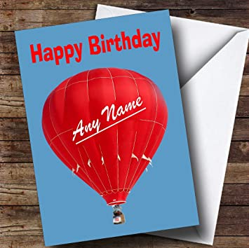 Red Hot Air Balloon Funny Personalised Birthday Card Amazon