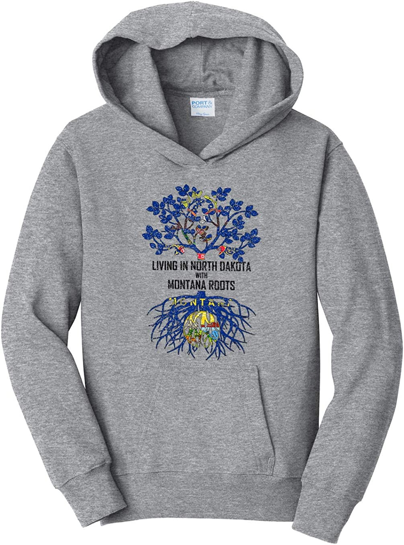 Tenacitee Girls Living in North Dakota with Montana Roots Hooded Sweatshirt