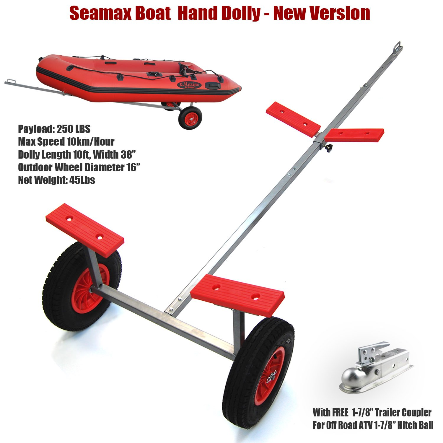 "Seamax Portable Boat Hand Dolly Set with 16"" Wheels, Fully Extended to 10ft Length, Rear Bunks Width 38"" (New Version) by SEAMAX"