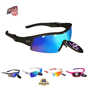4ae4a5870253 RayZor Liteweight UV400 Black Sports Wrap Golf Sunglasses