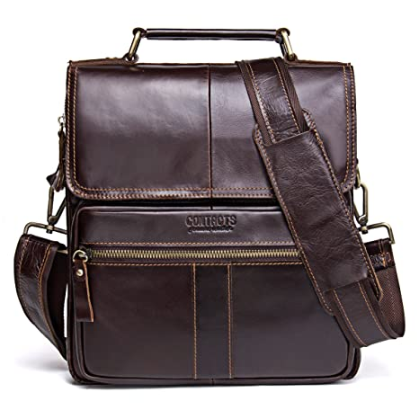 Amazon.com   Contacts Genuine Leather Men Messenger Crossbody Shoulder  Travel Handbag Dark Coffee   Messenger Bags 37dc6dfbf0