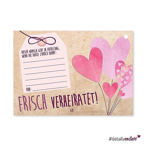 50 Luftballon-Karten Frisch verheiratet I dv_167 I DIN A6 I Set Ballon-Flugkarten Wunschkarte rosa Herz Hochzeit I für große