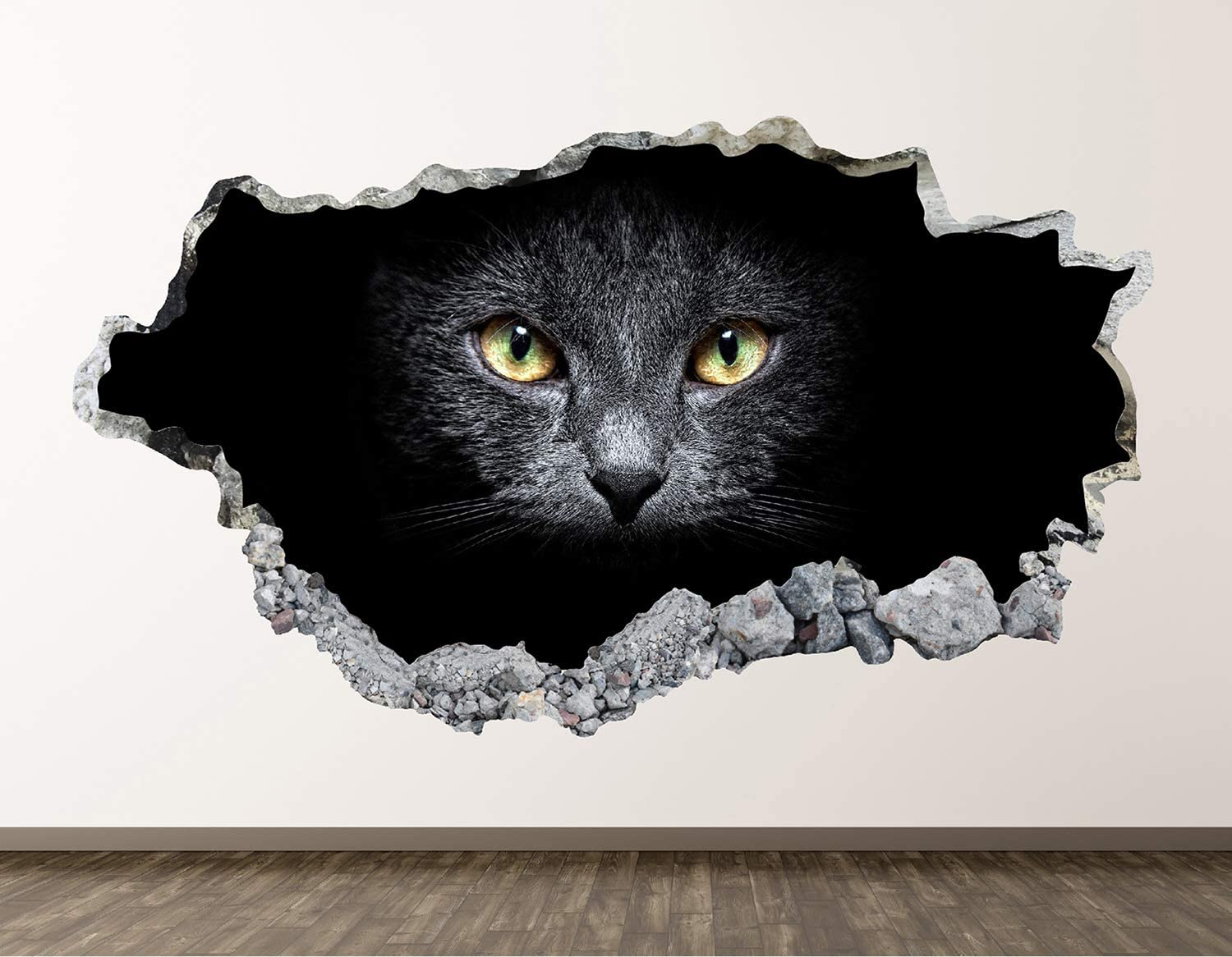 "West Mountain Cat Wall Decal Art Decor 3D Smashed Kids Black Animal Sticker Mural Home Gift BL09 (22"" W x14 H)"