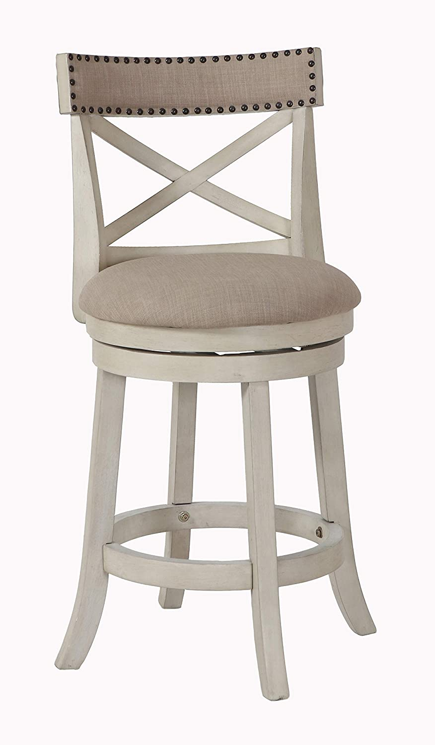 New Classic Furniture York Fabric Swivel Counter Stool, Antique White, 24-Inch
