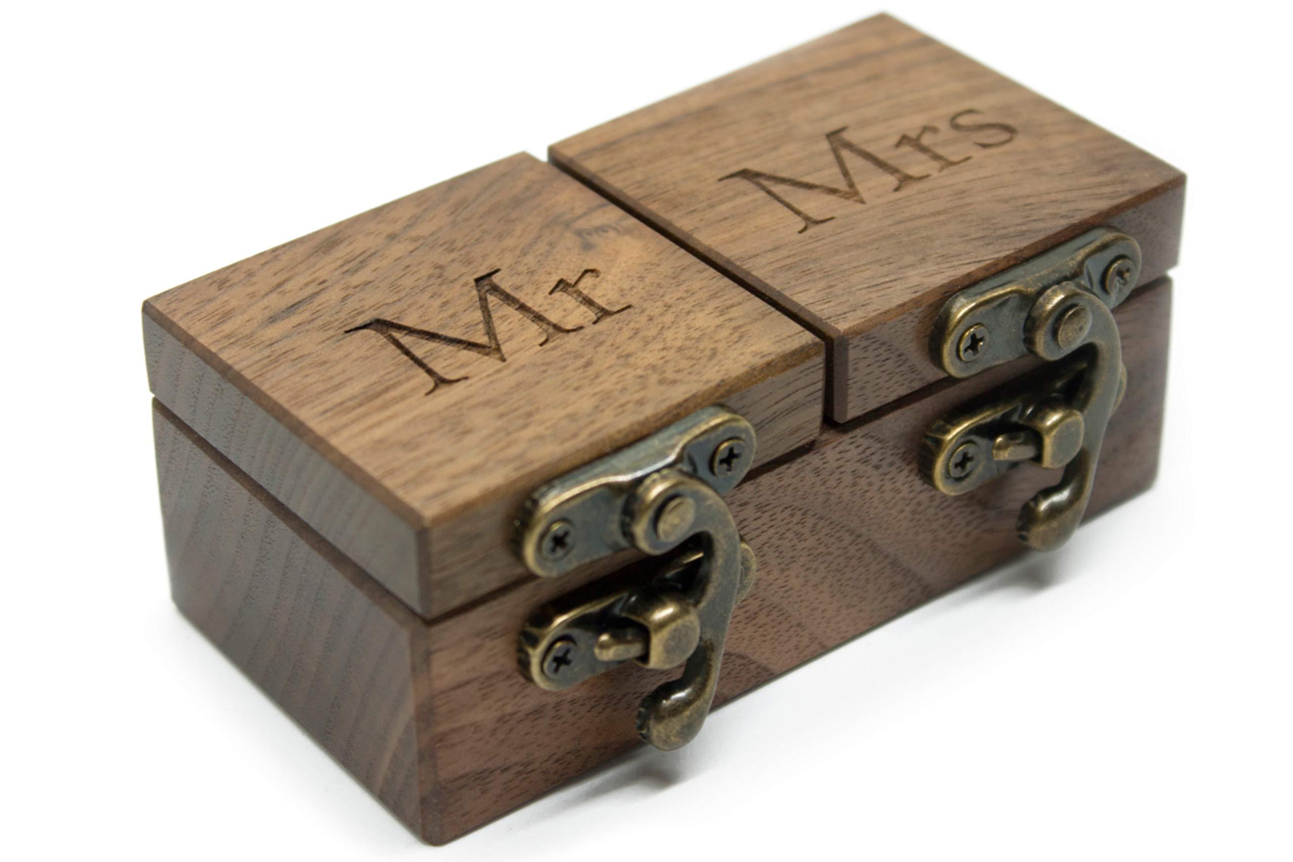 IdeaWoodCompany Ring Bearer Box - Pillow Alternative - Ring Holder Box - Wooden Wedding mrs mr Ring Box - Double Ring Box for Wedding Ceremony