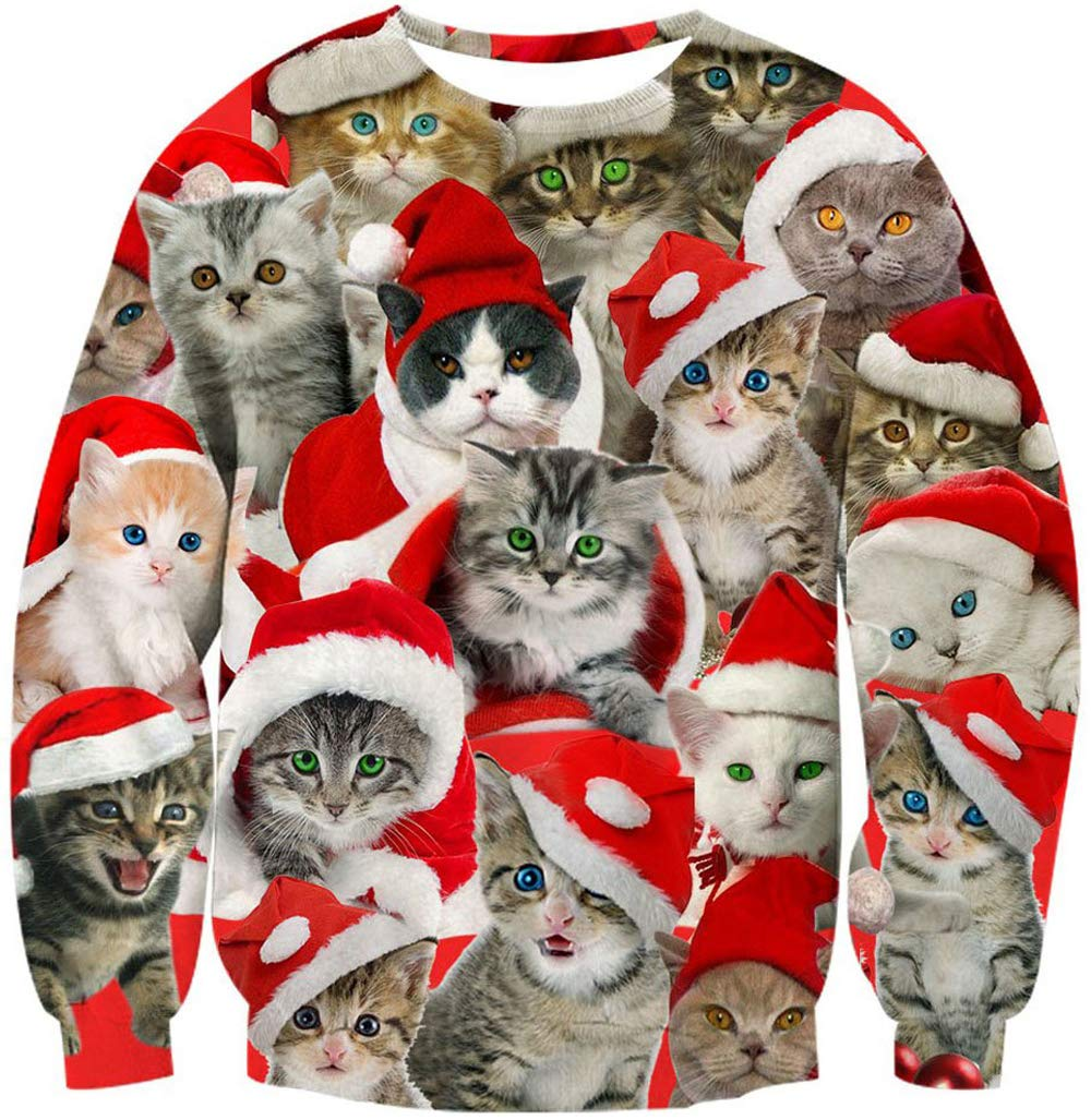 Leapparel Men/Women Ugly Christmas Sweater 3D Print Pullover Funny Xmas Cats Sweatshirts
