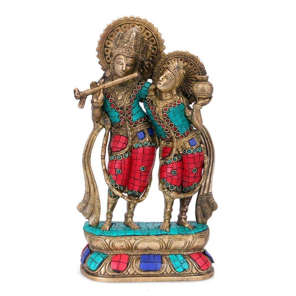 Aone India 12.5'' Large Beautiful Brass Sculpture Wedding Gift - Radha Krishna Statue - Symbol of Hindu Love Pair God & Goddess -Best Anniversary Gift + Cash Envelope (Pack Of 10)
