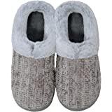 shoeslocker Women's Slippers Cozy Memory Foam Fuzzy Plush Lined House Shoes Indoor Outdoor Anti-Skid Rubber Sole
