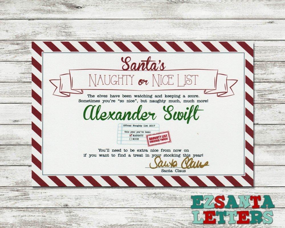 Amazon.com: EZ Santa Letters - Candy Cane Naughty List Certificate ...