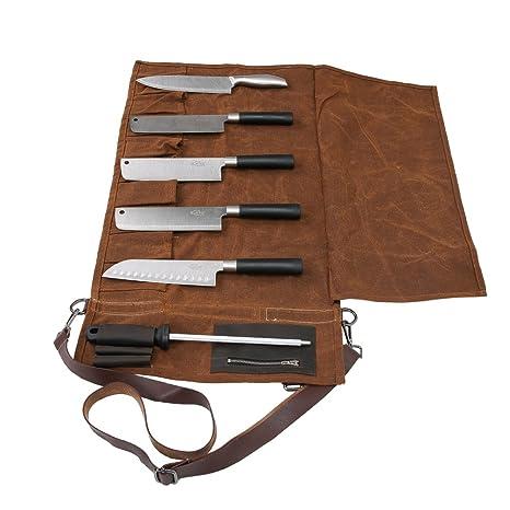 Amazon Com 16 Oz Waxed Canvas Fabric Chef Knife Roll Waterproof