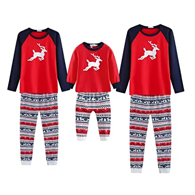 5c4427087b EFINNY Family Christmas Pajamas Set Family Matching Nightwear Deer Printed  Loungewear for Father Mother and Kids