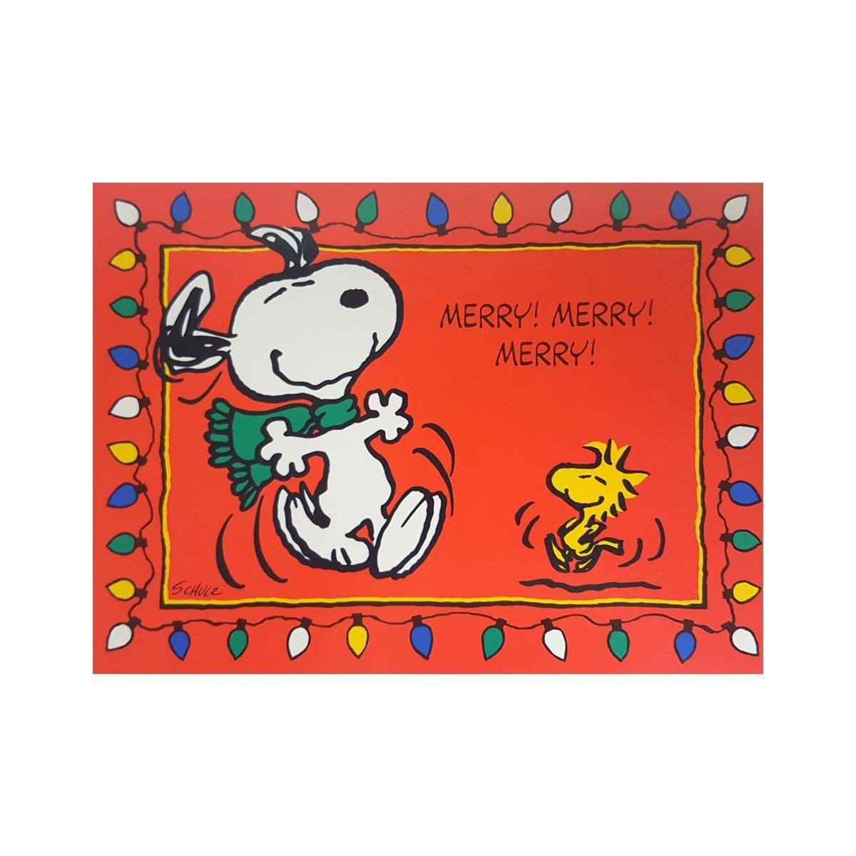 Snoopy Christmas Cards.Amazon Com Hallmark Snoopy And Woodstock 8 Christmas Cards
