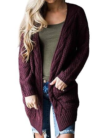 ZHENWEI Womens Cozy Sweater Plus Size Ladies Sweaters Cardigan with Pockets  Red 491554177
