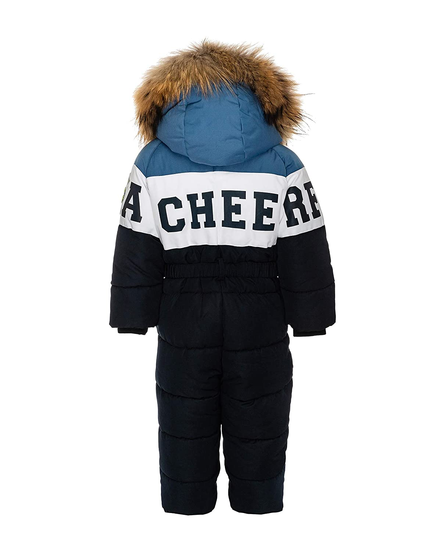 mit Fell Kapuze 86 92 cm GULLIVER Baby Overall Winter Baby Schneenazug Jungen Baby Navy Blau Gestreift gef/üttert