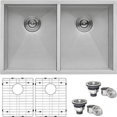 Ruvati 30-inch Undermount 50 50 Double Bowl Zero-Radius 16 Gauge Stainless Steel Kitchen Sink – RVH7350