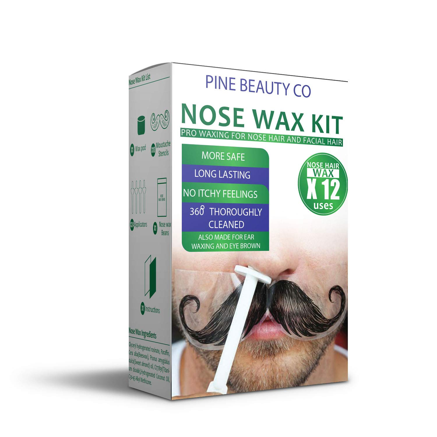 Nose Wax Kit for Men and Women, Hair Removal Waxing Kit for Nose, Ear and Eye-brow Hair Removal with Safe Tip 24 Applicator, Quick, Easy and Painless (80g/ 12 Times Uses Count) by PINE BEAUTY CO