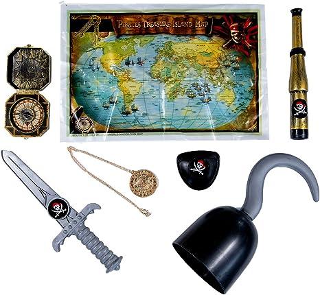Conjunto de Accesorios para Disfraz de Pirata Infantil-Gancho Daga Parche para Ojo Mapa del Tesoro Telescopio Brújula Medallón de Oro: Amazon.es: Juguetes y juegos