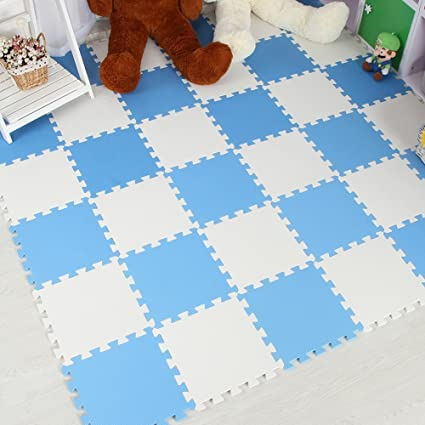 20pcs, Beige & White Baby Products Menu Life Soft Play Mats for Kids Pure Colour EVA Foam Mats Flooring Jiasaw Puzzle Mats