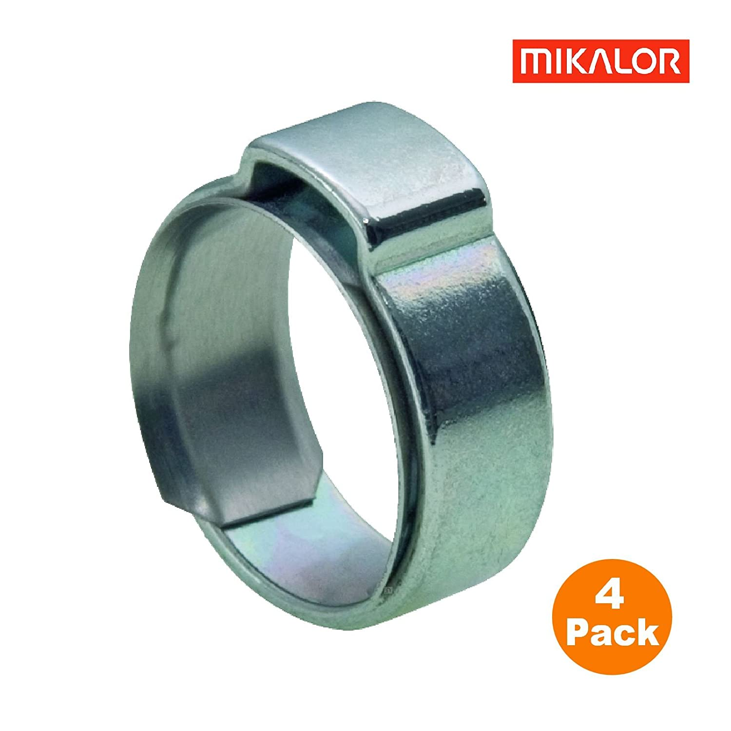 Hose Clamps 4 x Mikalor W1 Single Ear O Clips with Insert Stepless Inner Ring 8.0-9.5mm