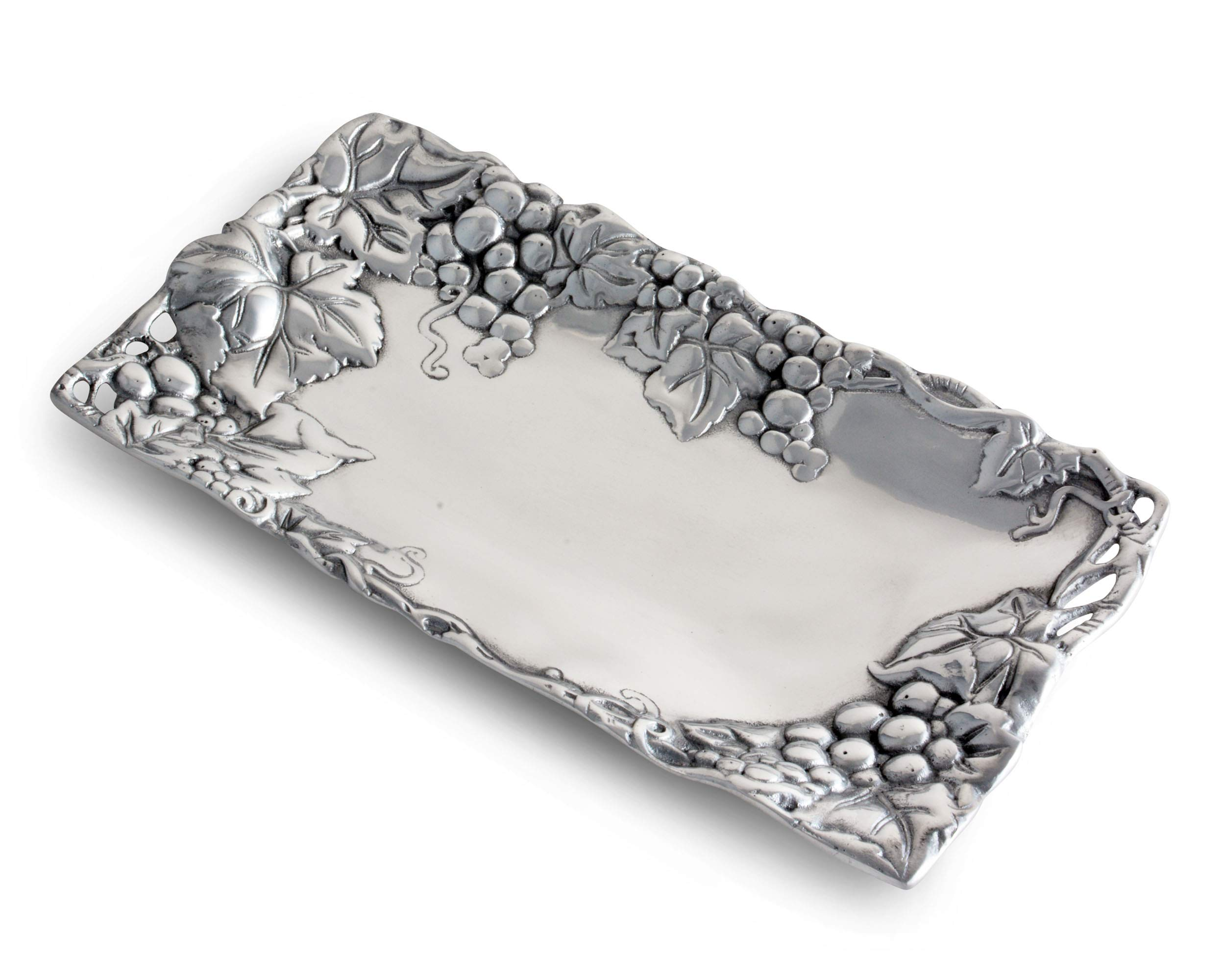 Arthur Court Metal Bread Serving Tray Grape Pattern Sand Casted in Aluminum with Artisan Quality Hand Polished Design Tanish-Free, 6 inch x 12 inch