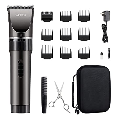 WONER Hair Trimmers for Men, Quiet Cordless Rechargeable Hair Clippers, 16-piece Home Hair Cutting Kit, Hair Removal