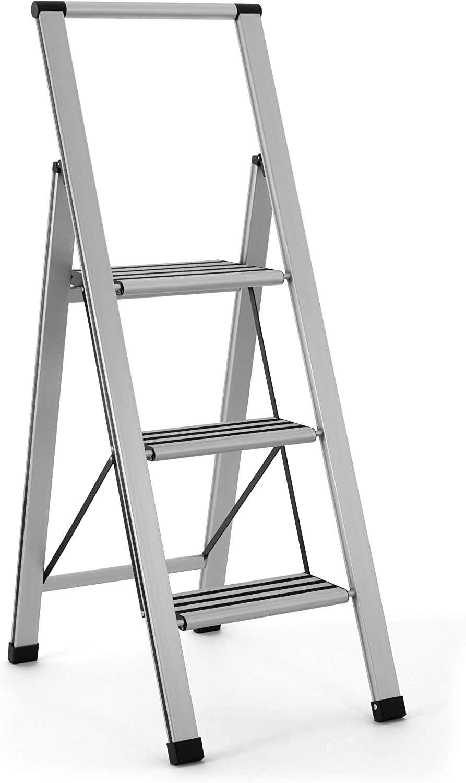 Sorfey Aluminum Folding 3 Step Ladder, Anti Slip, Sturdy, Lightweight and Slim Design, Heavy Duty, Silver