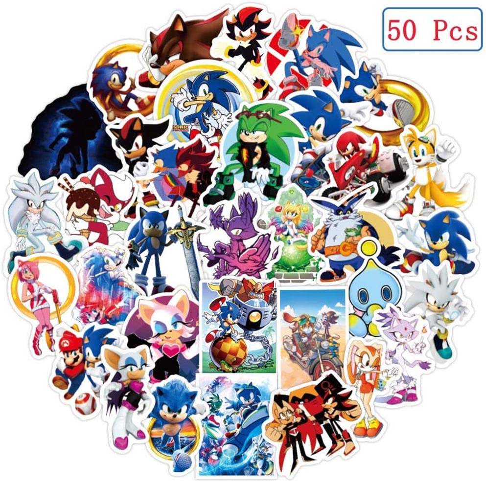 Amazon Com 50 Pcs Sonic The Hedgehog Stickers Sonic The Hedgehog Waterproof Vinyl Stickers For Water Bottles Laptop Car Bicycle Motorcycle Refrigerator Luggage Cup Computer Mobile Phone Locker Skateboard Decals Computers Accessories