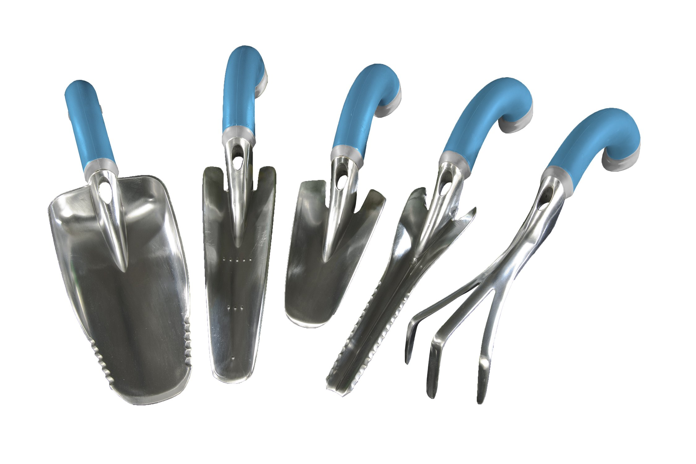 Radius Garden 5-Piece Blue Ergonomic Hand Tool Set, Includes Trowel, Transplanter, Weeder, Cultivator, and Scooper