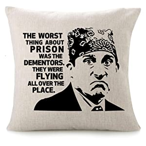 CHICCAT Cotton Linen Throw Pillow Case - Prison Mike Quote Humor Pillow Calligraphy Home Decor Engagement Present Birthday Cushion Cover 18x18 inches