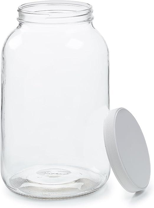 Empty 1 Gallon Glass Jar w/Airtight Leakproof Plastic Lid - Wide Mouth Easy to Clean - Dishwasher Safe - USDA Certified - Kombucha Tea, Kefir, Canning, Sun Tea, Fermentation, Food Storage