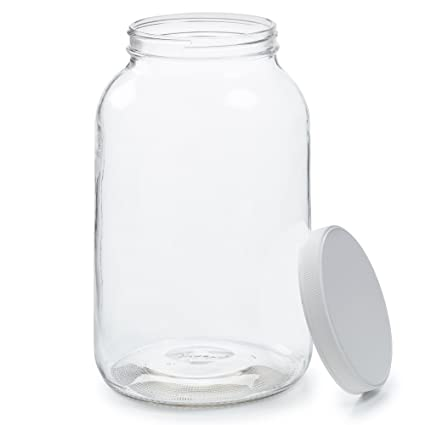 fa6cbbb02c5 Empty 1 Gallon Glass Jar w Airtight Leakproof Plastic Lid - Wide Mouth Easy  to