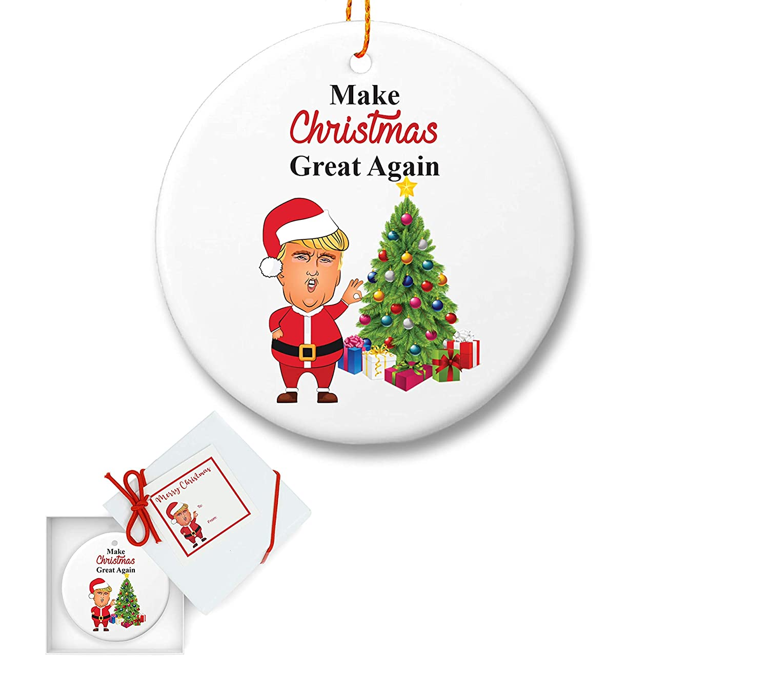 Amazon.com: FOLE INC Trump and Hilary Ceramic Christmas Tree ...