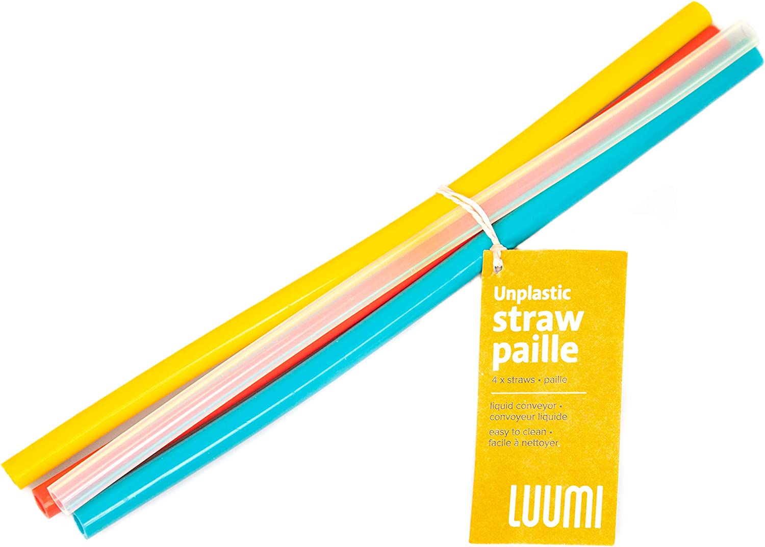 Luumi Unplastic Reusable Silicone Straws –100% Pure Platinum Silicone Straws for Drinking – BPA Free, Durable, Flexible, Dishwasher Safe and Kids/Toddlers Friendly (Assorted Colors)