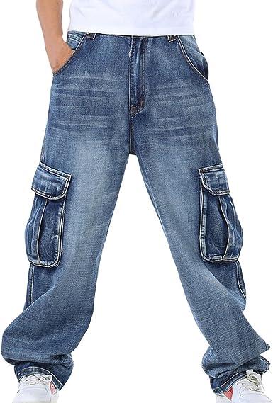 Amazon Com Hzcx Moda Para Hombre Multiples Bolsillos Cargo Pantalones De Mezclilla Jeans Holgados Para Big De Altura Clothing
