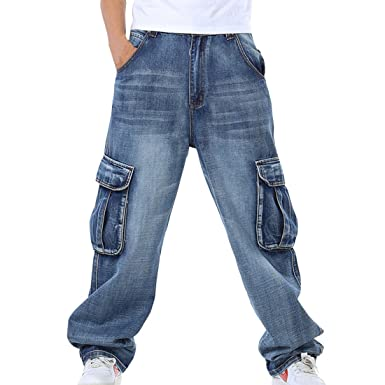4a98584617 HZCX FASHION Mens Multi-Pockets Cargo Denim Pants Loose Fit Jeans for Big  Tall: Amazon.co.uk: Clothing