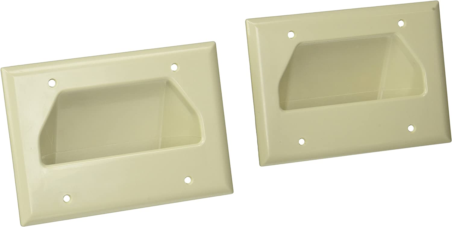 Datacomm 450003WH-2 3 Gang Recessed Low Voltage Cable Plate 2 Pack
