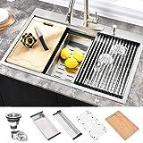HOSINO 33 inch Drop in Kitchen Sink, Stainless Steel Workstation Sink Double Ledges Topmount Sink 16 Gauge Handmade Sink Sing