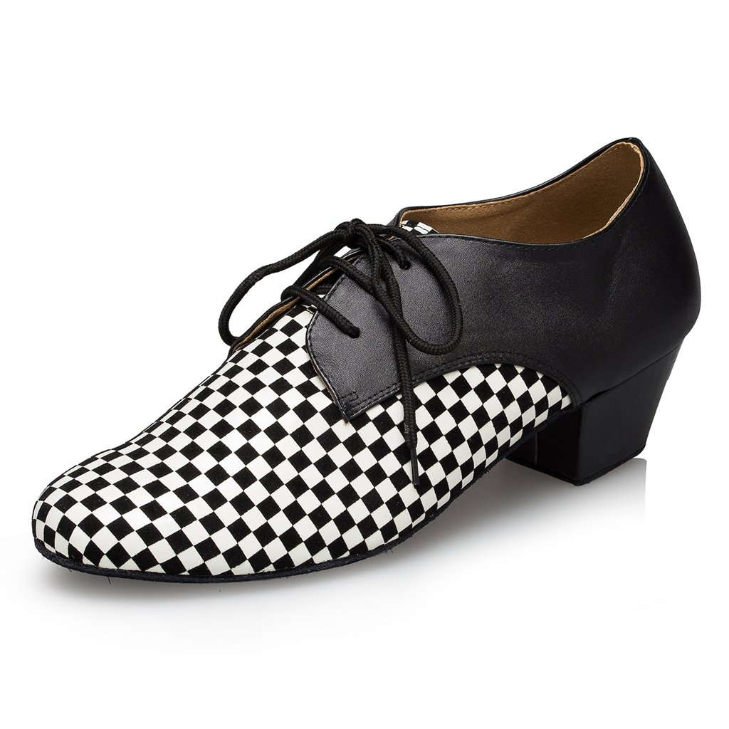 CRC Men's Stylish Round Toe Lace up Color Block Checkered Pattern Salsa Tango Ballroom Morden Latin Jazz Rumba Professional Dance Shoes CRCYCL178