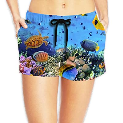 colorful Ocean Women's Casual Beach Shorts Quick-Drying Swim Trunk