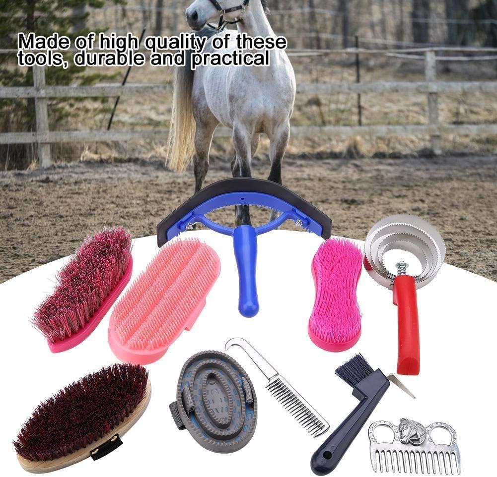 HEEPDD Kit de Cuidado equino, 10 Piezas, Cepillo para Cuidado de Caballos, Cepillo para pezuñas y rascador de Sudor, Juego de Herramientas de Limpieza de Gran Agarre (Color al Azar)