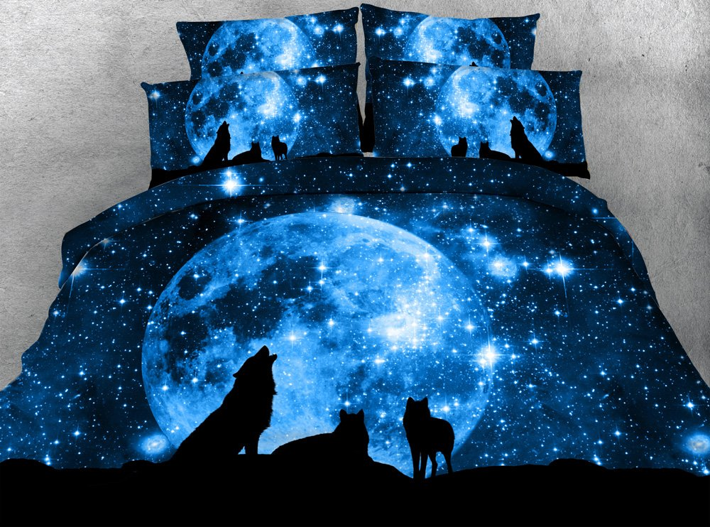 JF-066 Dark blue galaxy and wolf print bedding set 3pcs animal bedsheets moon Howling wolves duvet cover set (Full) by Goldeny