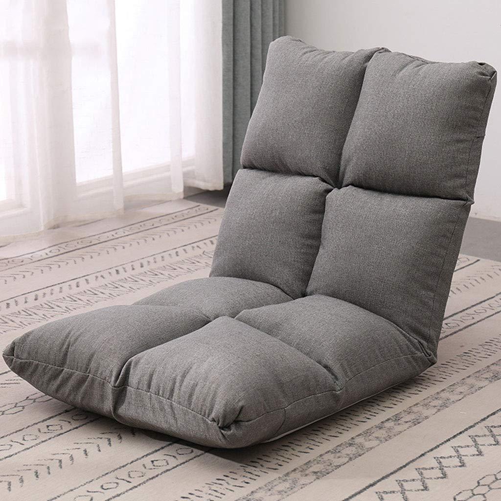 Vadderad bärbar golvstol med bekväm ryggstöd fönster ryggstöd stol med bomull och linne tyg justerbar 5 vinklar behandla ryggsmärta, för vardagsrum fritid läsning Grå