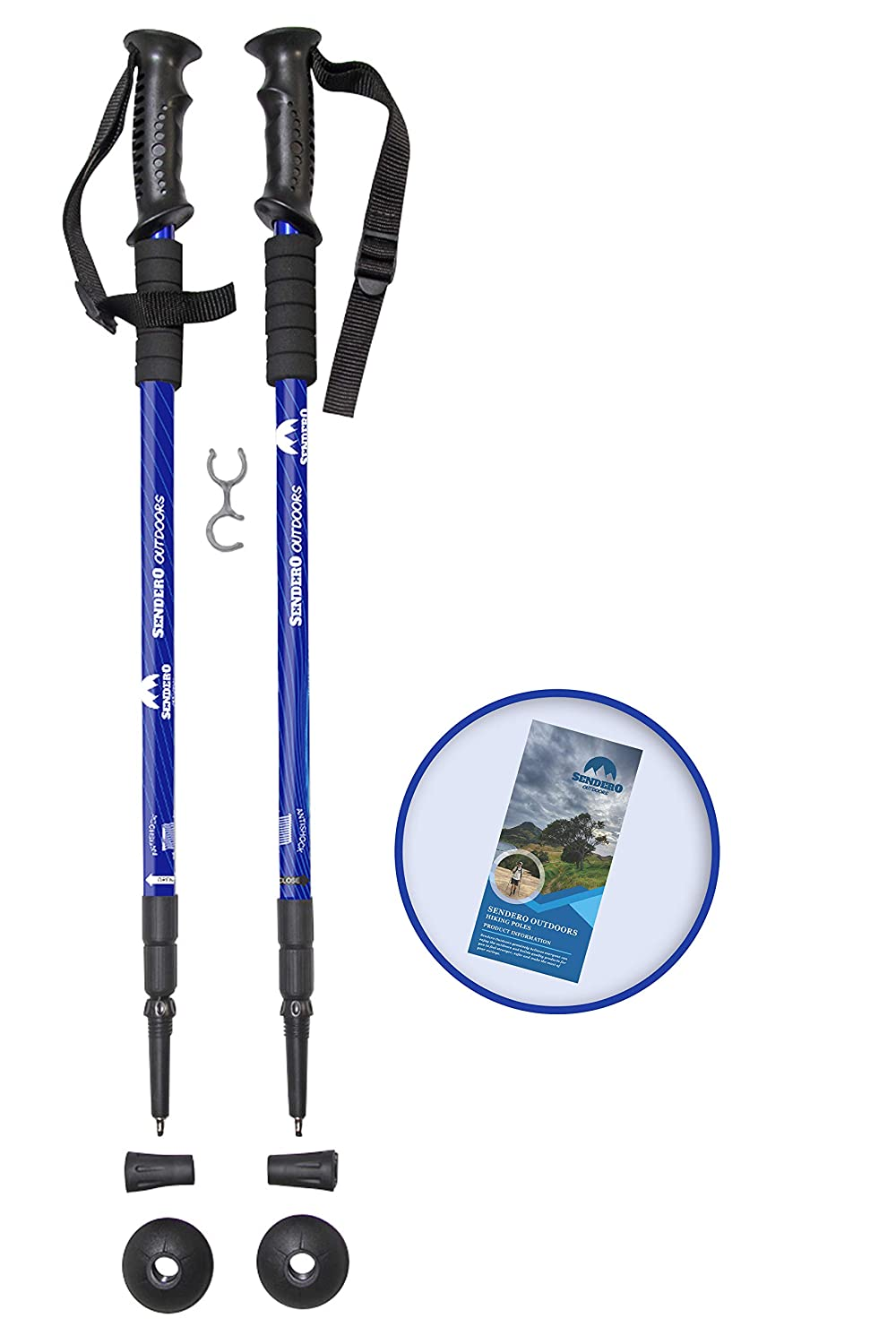 Sendero Outdoors Trekking Poles – Collapsible, Adjustable, Lightweight Aluminum, Anti-Shock and Telescopic System, All Terrain, for Hiking, Trekking, Walking, for Men, Women Children, 1 Pair