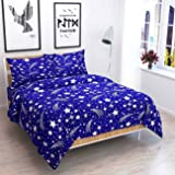 Ellonia 150 TC 100% Cotton Double Bedsheet with 2 Pillow Covers Size 90 by 90 3D Printed Multi Colour