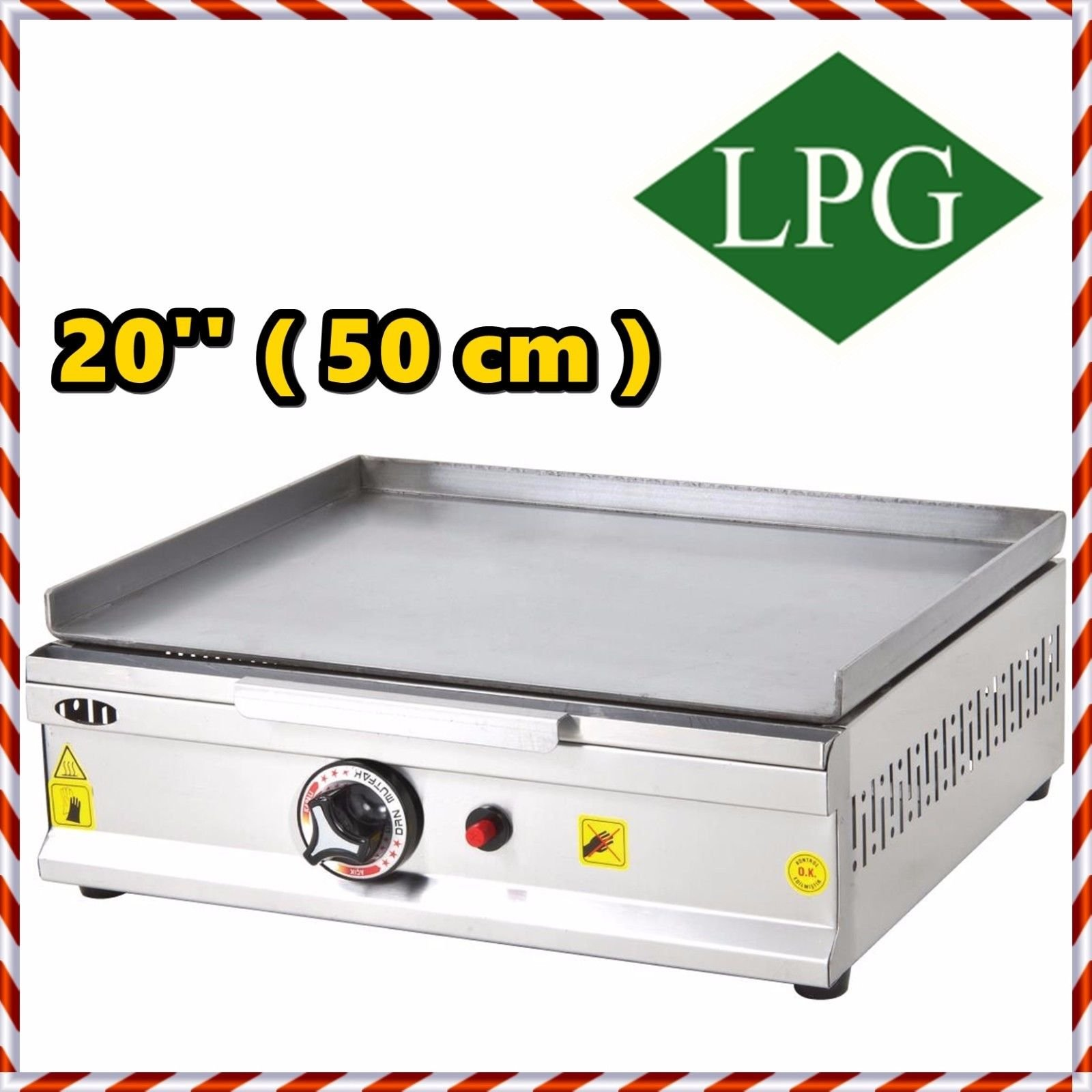 20 '' ( 50 cm ) PROPANE GAS Commercial Kitchen Equipment Countertop Flat Top Grill Restaurant Cooktop Manual Griddle Propan LPG