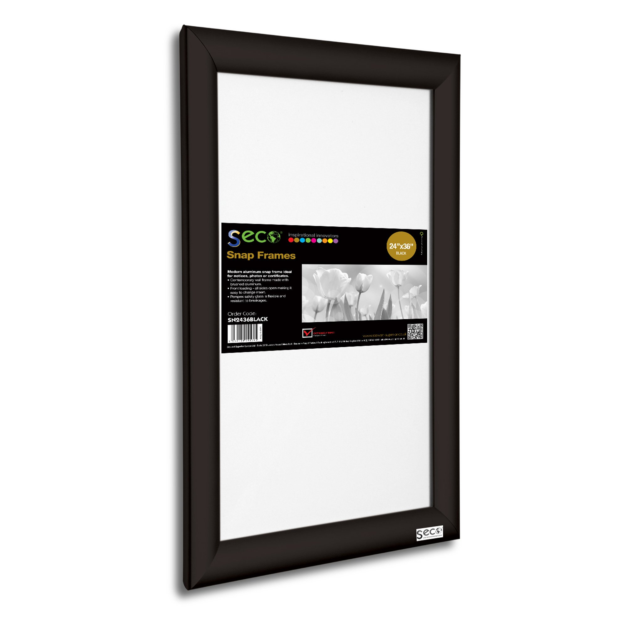 SECO Front Load Easy Open Snap Frame Poster/Picture Frame 24 x 36 Inches, Black Aluminum Frame (SN2436Black)